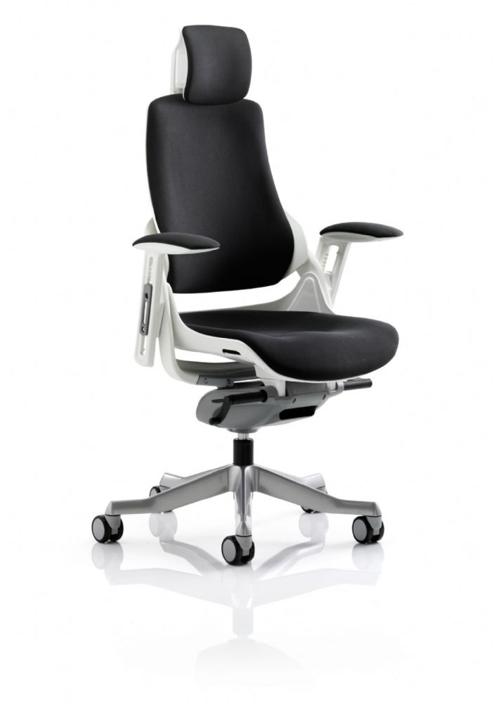 Zure Executive Task Chair Orthopaedic Designed Office Seat & Back in Black Fabric Headrest